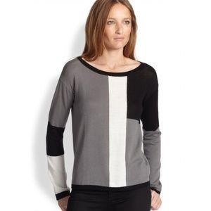 Alice + Olivia |  Colorblock Knit Top Gray Black
